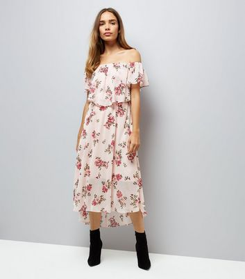 Pink Stripe Floral Print Bardot Neck Midi Dress