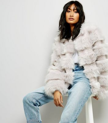 Cameo Rose Pale Grey Faux Fur Jacket