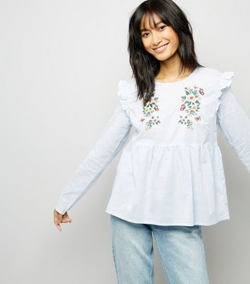 Tall Blue Embroidered Frill Trim Top