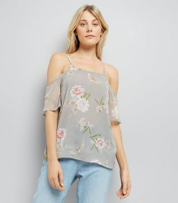 Tall – Graues Cold-Shoulder-Top mit Blumenmuster