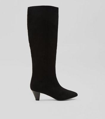 Black Suedette Knee High Heeled Boots