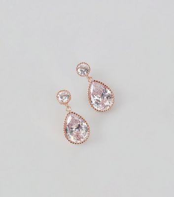 Rose Gold Cubic Zirconia Teardrop Earrings