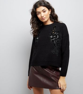 Black Velvet Lace Detail Jumper