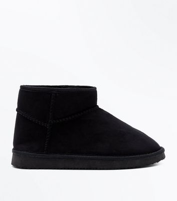 Black Faux Shearling Lined Pull On Boots