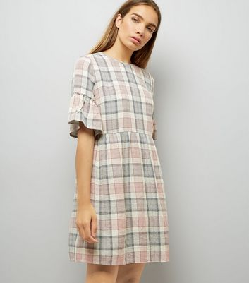 White Check Frill Sleeve Tie Back Smock Dress