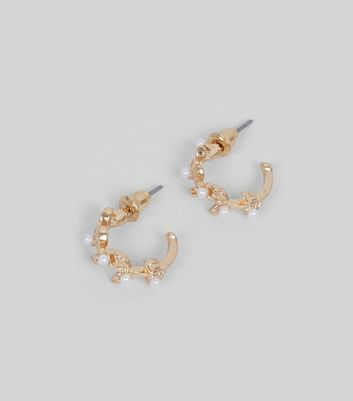 Gold Pearl Leaf Hoop Earrings