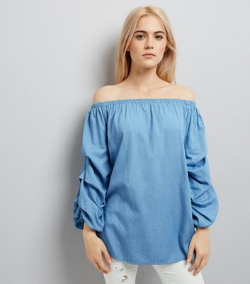 Pale Blue Ruched Sleeve Bardot Neck Top