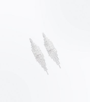Silver Cubic Zirconia Chandelier Earrings