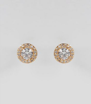 Gold Cubic Zirconia Gem Stud Earrings