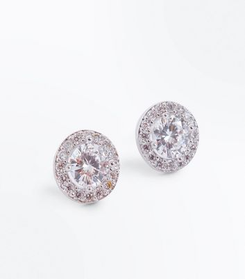 Silver Cubic Zirconia Gem Stud Earrings