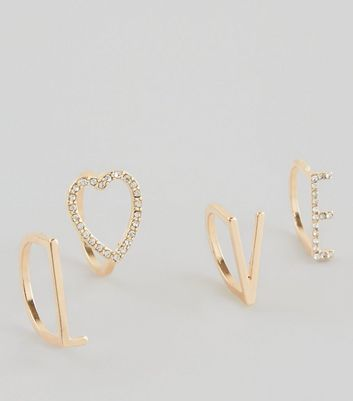 4 Pack Gold 'Love' Slogan Rings