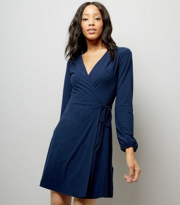 Navy Jersey Wrap Dress