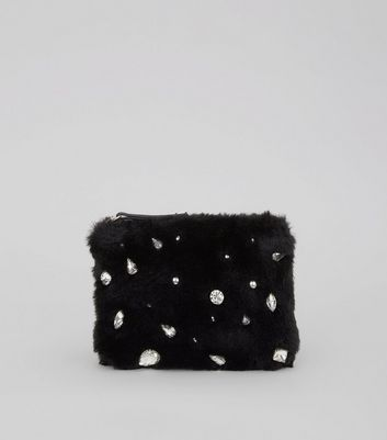Black Faux Fur Embellished Zip Top Purse