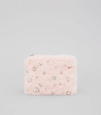Pink Faux Fur Embellished Zip Top Purse