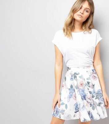 White Digital Floral Rose Print Skater Skirt