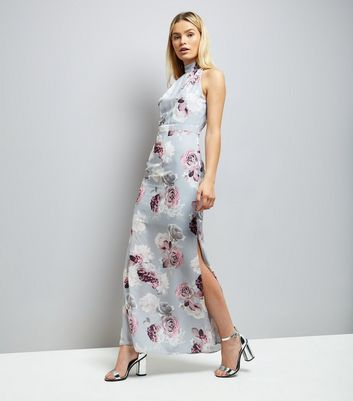 Grey Floral Print Tie Back Maxi Dress
