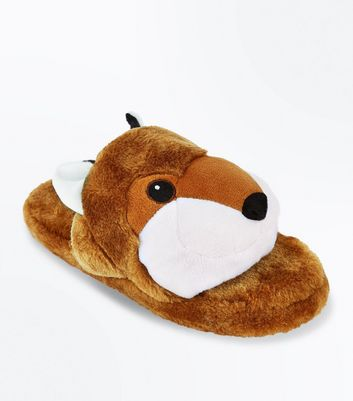 Tan Fox Slider Slippers