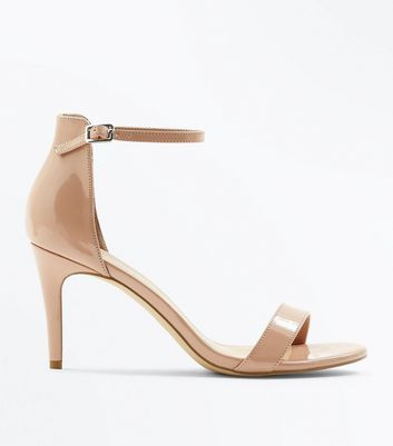 Nude Patent Stiletto Heel Sandals