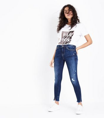 Blue Twisted Fray Hem Jenna Jeans