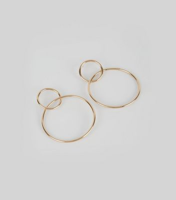 Gold Interlinking Small and Large Hoop Earrings