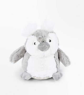 Grey Fluffy Owl Slippers