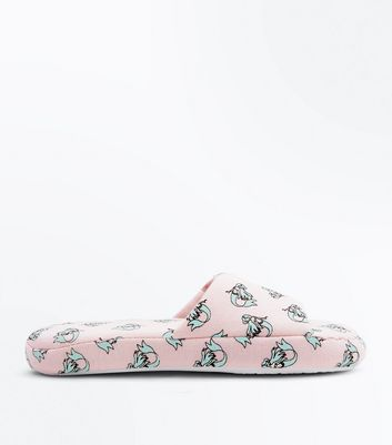 Pink Mermaid Print Slider Slippers