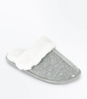 Grey Star Print Faux Fur Mule Slippers