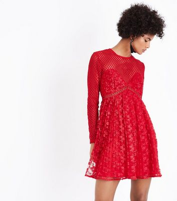 Red Fishnet and Lace Pleated Dress