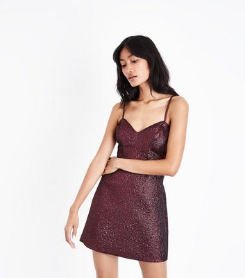Deep Pink Metallic Crinkle Mini Dress