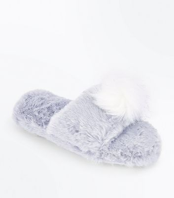 Grey Pom Pom Faux Fur Sliders