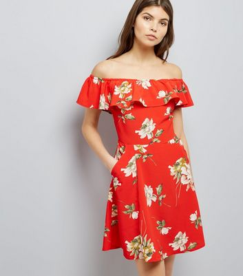 Cameo Rose Red Floral Print Bardot Neck Dress