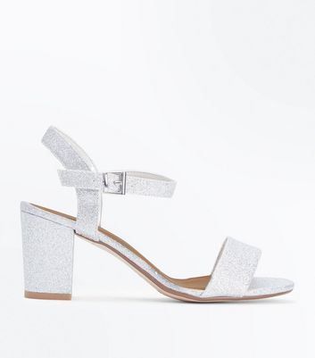 Teens Silver Glitter Block Heeled Sandals