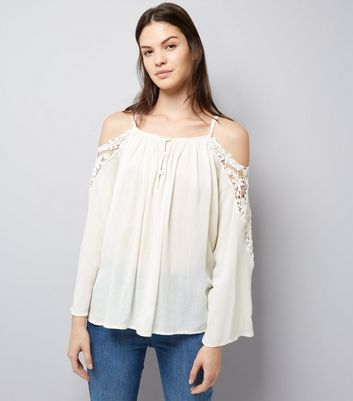Apricot Cream Crochet Cold Shoulder Top