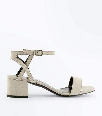 Girls Grey Suedette Block Heel Sandals