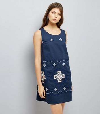 Apricot Navy Embroidered Detail Shift Dress