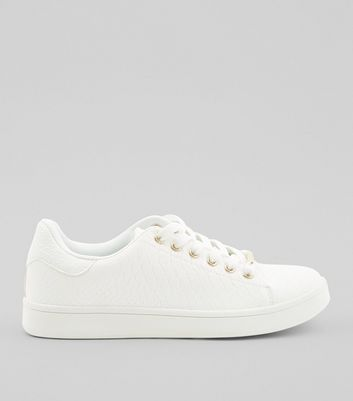 Teens White Snakeskin Textured Trainers
