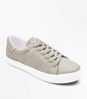Grey Stud Side Lace Up Trainers