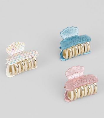 3 Pack Irridescent Shell Bulldog Clips