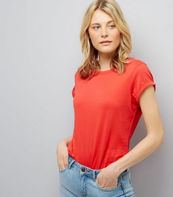 Tall Red Rolled Sleeve T-Shirt