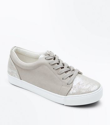 Grey Metallic Faux Snakeskin Panel Trainers