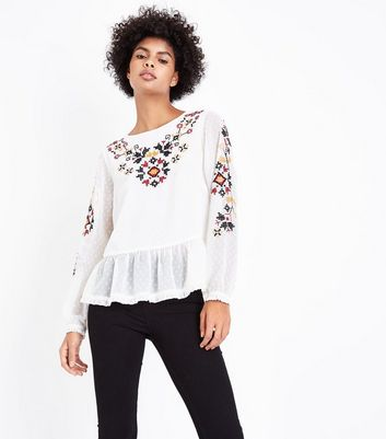 White Crochet Embroidered Peplum Hem Top