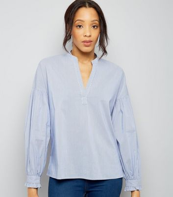 Blue Stripe Balloon Sleeve Shirt