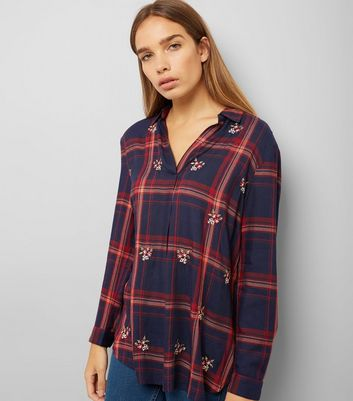 Navy Check Floral Embroidered Shirt