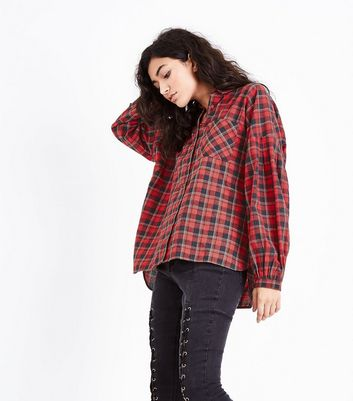 Red Check Gathered Sleeve Shirt