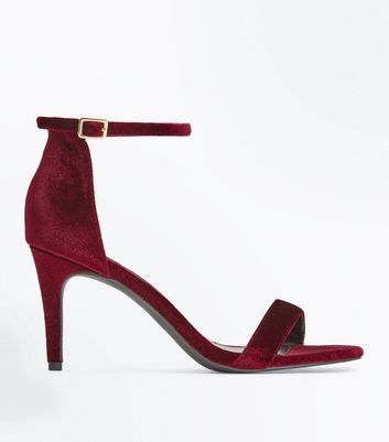 Burgundy Velvet Stiletto Heel Sandals