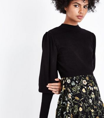Black Puff Sleeve Cropped Jumper