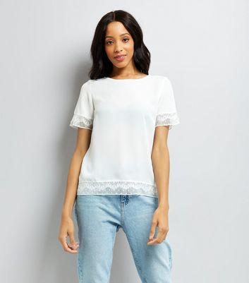Cream Lace Trim Short Sleeve T-Shirt