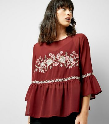 Burgundy Floral Embroidered Mesh Top