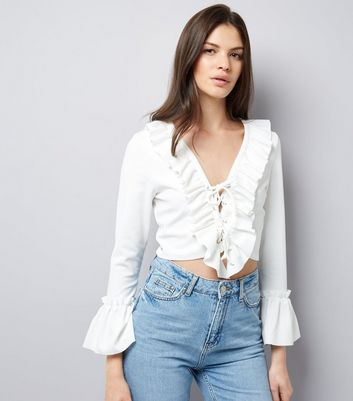 Cameo Rose White Lace Up Frill Trim Crop Top
