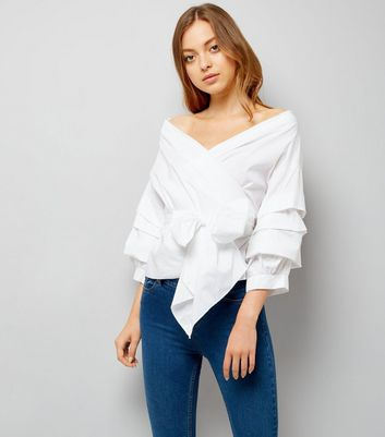 Cameo Rose White Tie Front Tiered Sleeve Top
